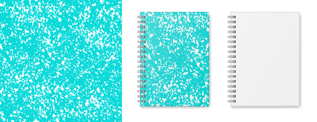 Realistic vector image (layout, mock-up) of a hardcover notebook with a silvery spiral attached, top view, 3d. Cover design of notebook with seamless texture of blue and white. Vector EPS 10.
