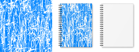 Realistic vector image (layout, mock-up) of a hardcover notebook with black spiral, top view, 3d. Texture of blue and white. Vector EPS 10.