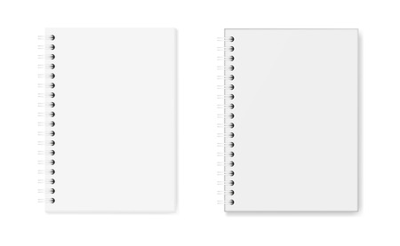Vector set of notebooks: hardcover and soft cover, top view. White sheets of paper (A5), fixed with a white spiral, 3d. The image was created using gradient mesh. Vector EPS 10. Imagens - 120619453