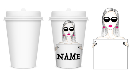 Vector mockup (white) paper cup for coffee (or other beverages) with white lid. Fashion illustration of a girl with a poster, template for text. Design of a paper cup. EPS 10 일러스트