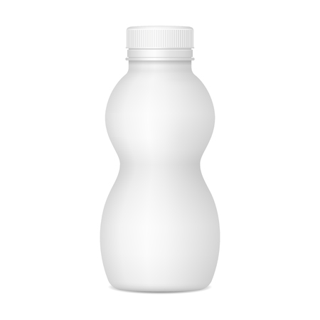 Vector realistisch beeld (voor mock-up, lay-out) van plastic fles voor yoghurt of andere dranken. EPS-10. Vector Illustratie