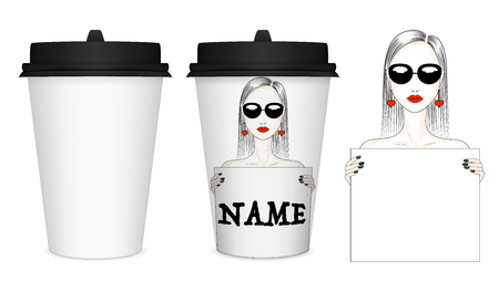 Vector mockup of white closed paper cup with black lid. Fashion illustration of a girl with a poster, template for text. Design of a paper cup. EPS 10 Illustration