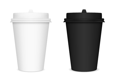 Vector black and white closed paper cups for lids. The image was created using gradient mesh. Vector EPS 10. Illustration