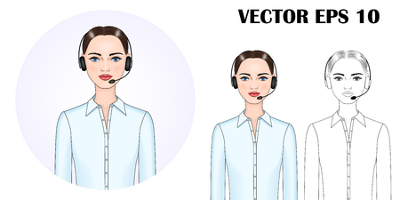 Vector image of a woman (manager, assistant, lecturer, trainer, online consultant, call center specialist) in headphones with a microphone. EPS 10. Vecteurs