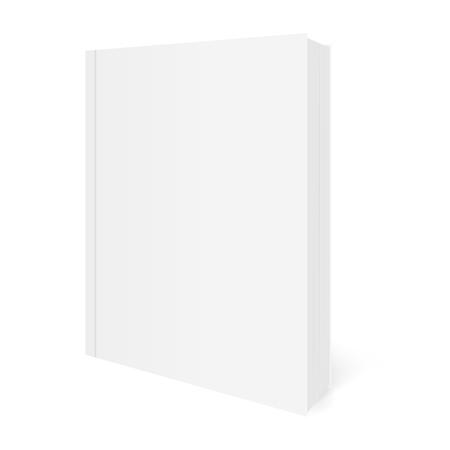 Vektorrealistisches Bild (Mock-up, Layout) des Softcover-Buches, vertikal angeordnet, perspektivische Ansicht. Getrennt auf Weiß. Das Bild wurde mit Verlaufsgitter erstellt. Vektor-EPS 10. Vektorgrafik