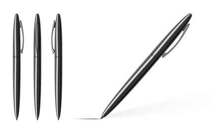 Vector realistic image of silvery metal pens on a white background.