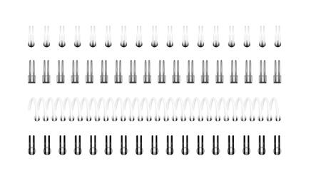 Giunzione delle spirali in bianco e nero per il taccuino, il calendario, l'album da disegno: una vista dall'alto.