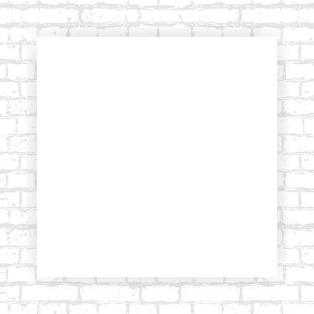 Vector image of a square poster on a brick wall texture background. Template, frame for your text or image. EPS 10. Ilustração Vetorial