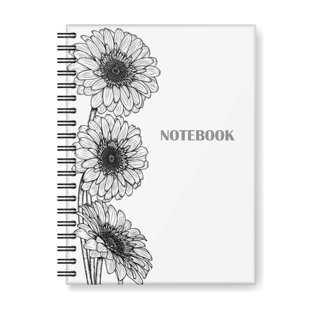 Vector hardcover notebook mockup with black spiral. Notepad cover design, black and white, with hand-drawn gerbera flowers. EPS 10