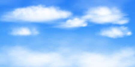 Image of blue sky with white clouds. Vector background with a 2: 1 aspect ratio. Created using a gradient mesh. EPS 10.