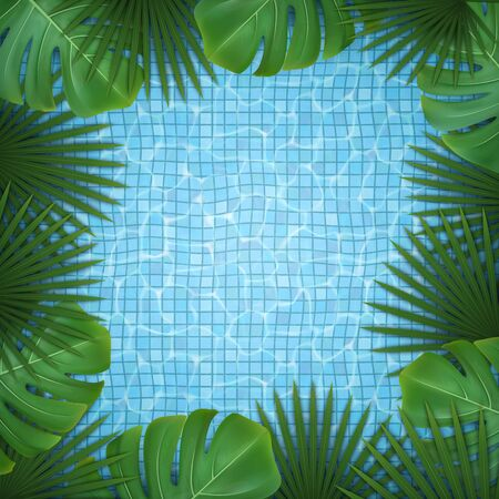 Monstera and pool water. Illustration