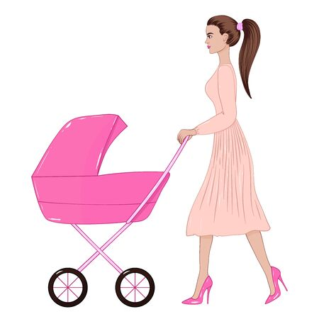 Vector image of a walking woman in a dress and high heels with a stroller. A young mother with a child. Stock Illustratie