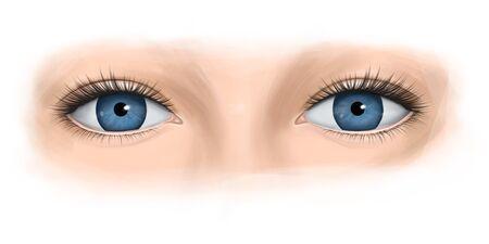 Blue eyes of a woman with long eyelashes. Fashion illustration.