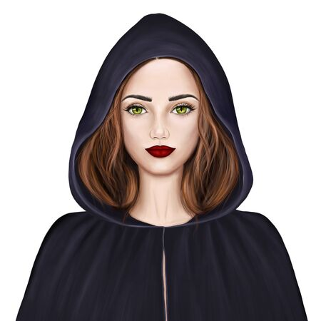 Young beautiful woman with green eyes and red hair. Witch in a black cloak and hood.