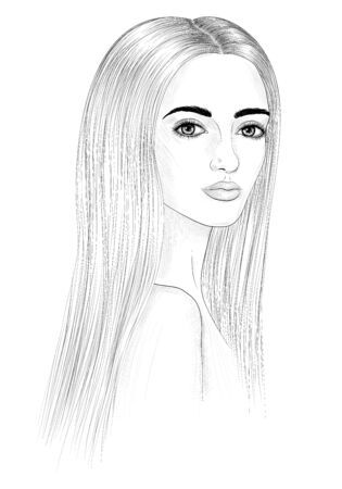 Hand-drawn portrait of a young woman. Ilustracja