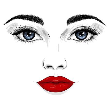 Fashion illustration. Beautiful face of a woman with blue eyes, red lips, long eyelashes. Illusztráció