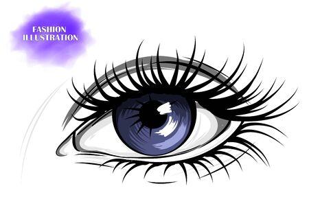 Hand-drawn image of a blue eye with eyebrows and long eyelashes. Fashion illustration.