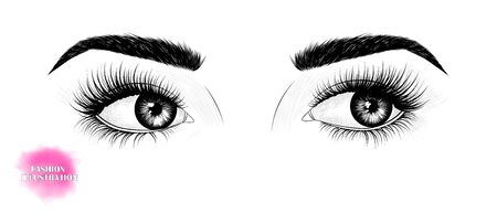 Hand-drawn black and white image of the eyes, looking to the side, with eyebrows and long eyelashes. Illusztráció