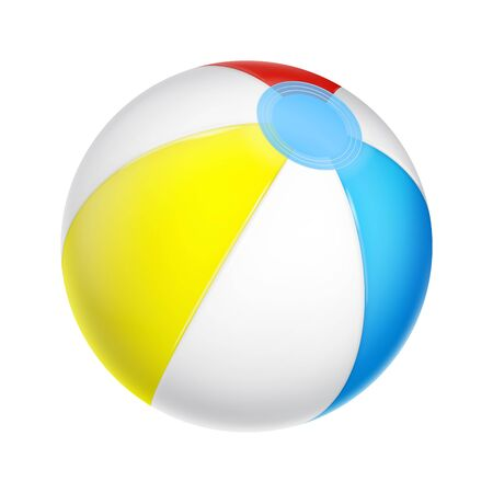 Vector realistic beach ball. White, red, yellow and blue inflatable ball isolated on white.