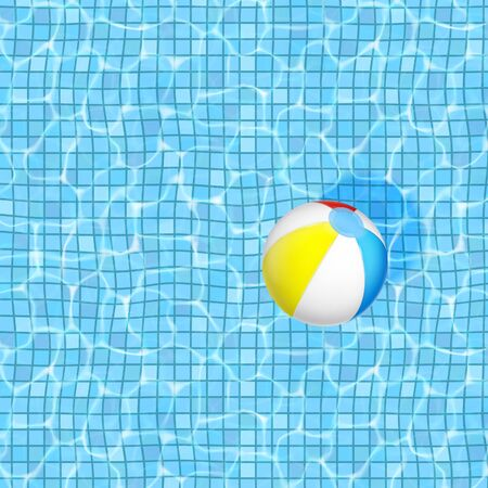 Vector summer square background. The surface of the water in a swimming pool with a floating inflatable ball. Illustration