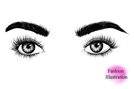 Imagen en blanco y negro dibujada a mano de los ojos de una mujer con pestañas largas mirando hacia un lado, cejas. Ilustración De Moda