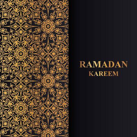 Square background with golden mandala pattern. Greeting card Ramadan Kareem.