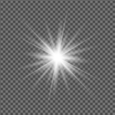 Vektortransparenter Effekt eines leuchtenden Sterns, einer Sonne, eines Scheinwerfers oder einer Lampe. Helles Licht, Blitz.