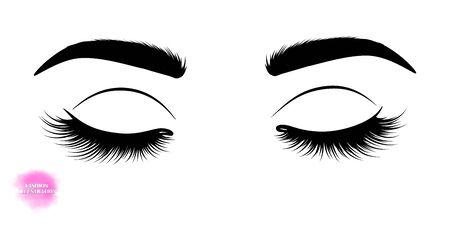 Fashion illustration. Black and white hand-drawn image of closed eyes with eyebrows and long eyelashes.