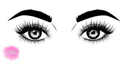 Fashion illustration. Black and white hand-drawn image of beautiful eyes with eyebrows and long eyelashes.
