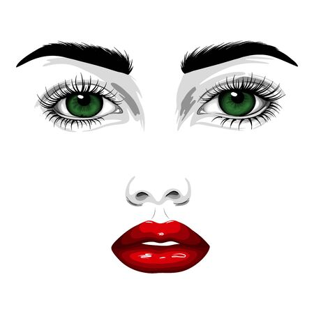 Fashion illustration. Beautiful face of a woman with green eyes, red lips, long eyelashes.