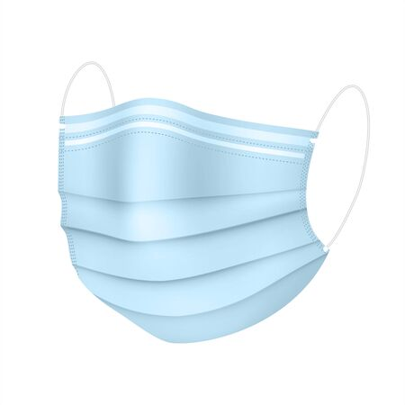 Realistic medical mask in blue color. Virus protection. Vector Stock Illustratie