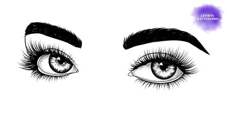 Fashion illustration. Black and white hand-drawn image of eyes with eyebrows and long eyelashes. Vector Stock Illustratie