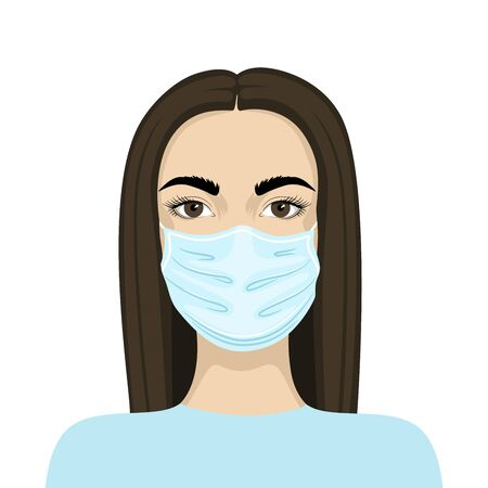 Vector image of a woman in a medical mask. Virus protection.