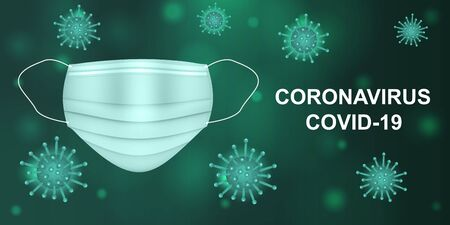 Vector illustration of a coronavirus and medical mask on a dark green background. Covid-19 concept. Virus protection.