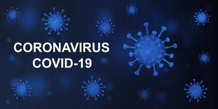 Vector illustration of a coronavirus on a dark blue background. Covid-19.