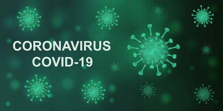 Vector illustration of a coronavirus on a dark green background. Covid-19.