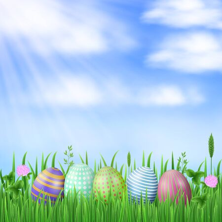 Spring Easter background. Painted eggs, blue sky, sun rays, fresh green grass, flowers and clover leaves. Vector concept.