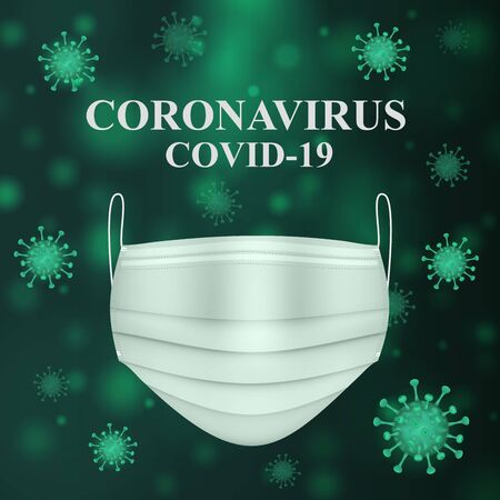 Vector square illustration of a coronavirus and medical mask on a dark green background. Covid-19 concept. Virus protection. Stock Illustratie