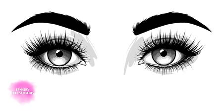 Fashion illustration. Hand-drawn image of beautiful eyes with eyebrows and long eyelashes. Vector Stock Illustratie