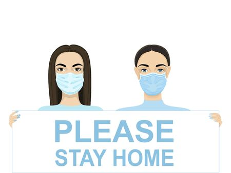W omen are holding a poster: Please stay home. Doctors flash mob against coronavirus. Stock Illustratie