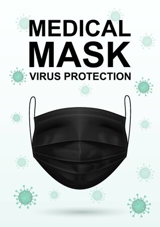 Virus and black medical mask