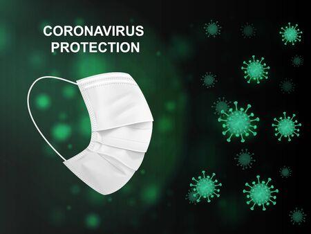 Virus protection. Coronavirus and white medical mask on green background.