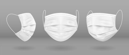 White medical mask in three projections. Virus protection. Vector Stock Illustratie