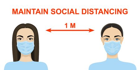Two women in medical masks observe social distance. Vector
