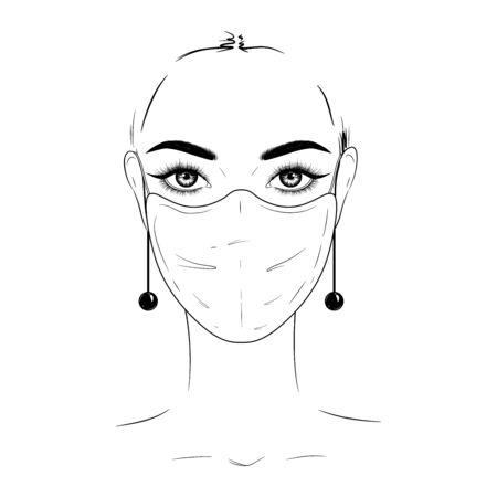 Hand-drawn fashion illustration. Beautiful woman in white medical mask. Stock Illustratie