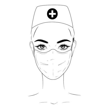 Hand-drawn fashion illustration. Beautiful nurse in medical mask.