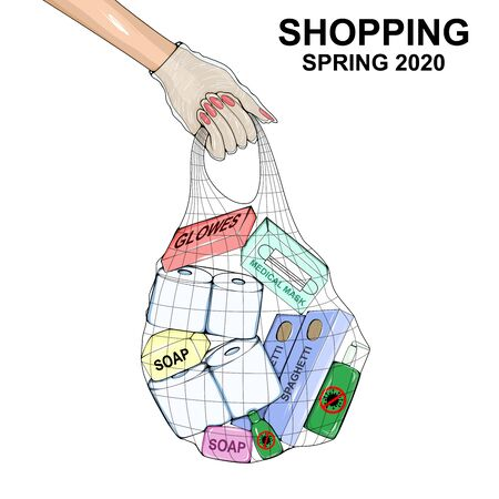 Woman's hand in a disposable glove with holds a bag with purchases: toilet paper, disinfectant, paste, medical mask, gloves.