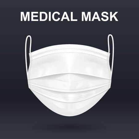 Realistic white medical mask. Virus protection.