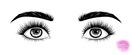 Fashion illustration. Black and white hand-drawn image of eyes with eyebrows and long eyelashes looking up. Stock Illustratie