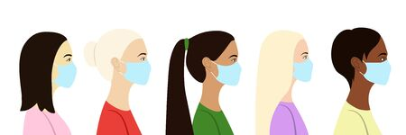 Five women in profile of different nationalities in medical masks.